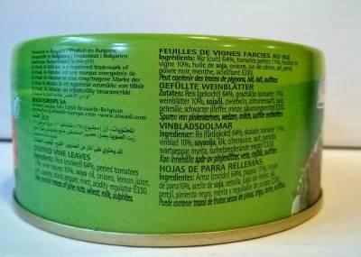 Feuilles de vigne farcies au riz 280 grs