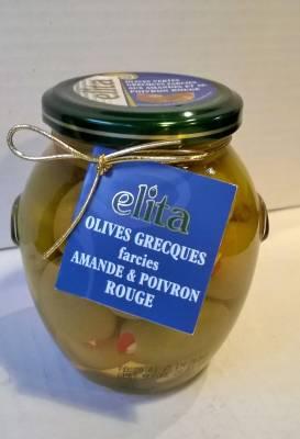 Olives grecques farcies aux amandes et poivrons 360 grs