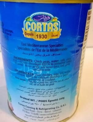 Pois chiches bouillis Cortas 400 g